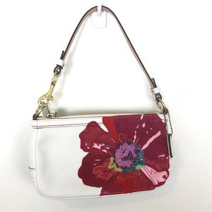 COACH White Leather Poppy for Peace Small Purse